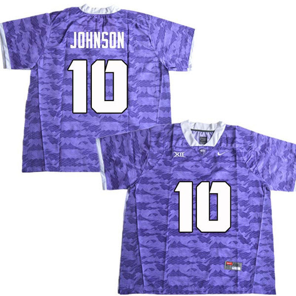 Men #10 Kerry Johnson TCU Horned Frogs College Football Jerseys Sale-Purple