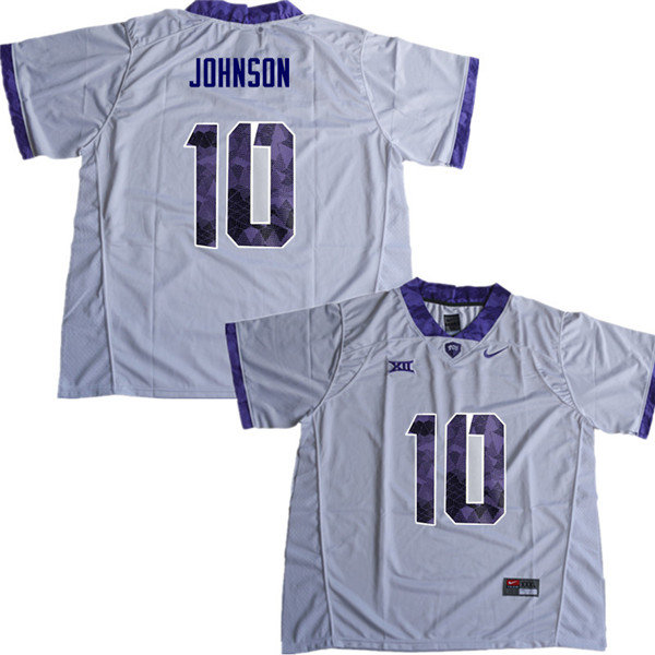 Men #10 Kerry Johnson TCU Horned Frogs College Football Jerseys Sale-White