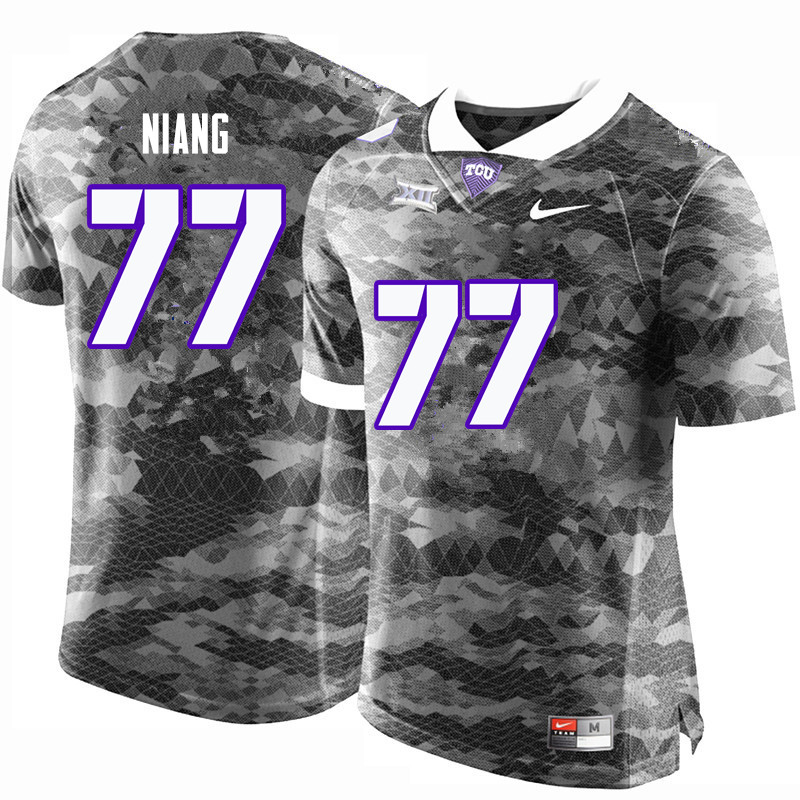 Men #77 Lucas Niang TCU Horned Frogs College Football Jerseys-Gray