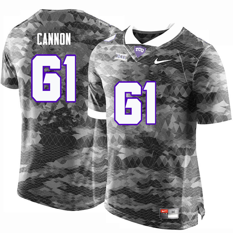 Men #61 Marcus Cannon TCU Horned Frogs College Football Jerseys-Gray