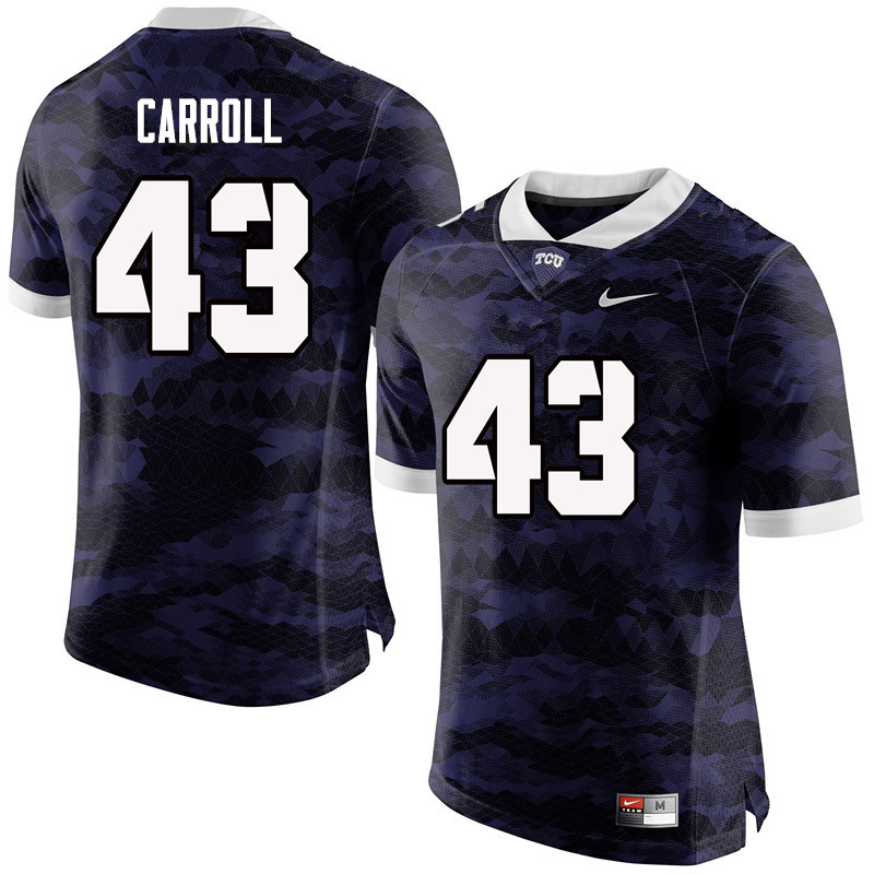 Men #43 Michael Carroll TCU Horned Frogs College Football Jerseys-Purple