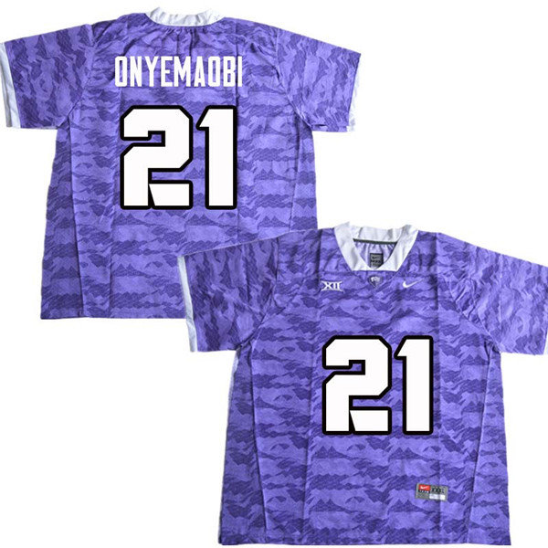 Men #22 Michael Onyemaobi TCU Horned Frogs College Football Jerseys Sale-Purple