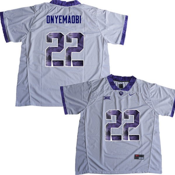Men #22 Michael Onyemaobi TCU Horned Frogs College Football Jerseys Sale-White
