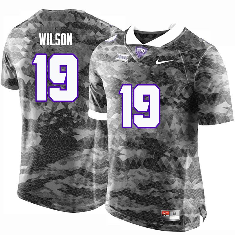 Men #19 Montrel Wilson TCU Horned Frogs College Football Jerseys-Gray