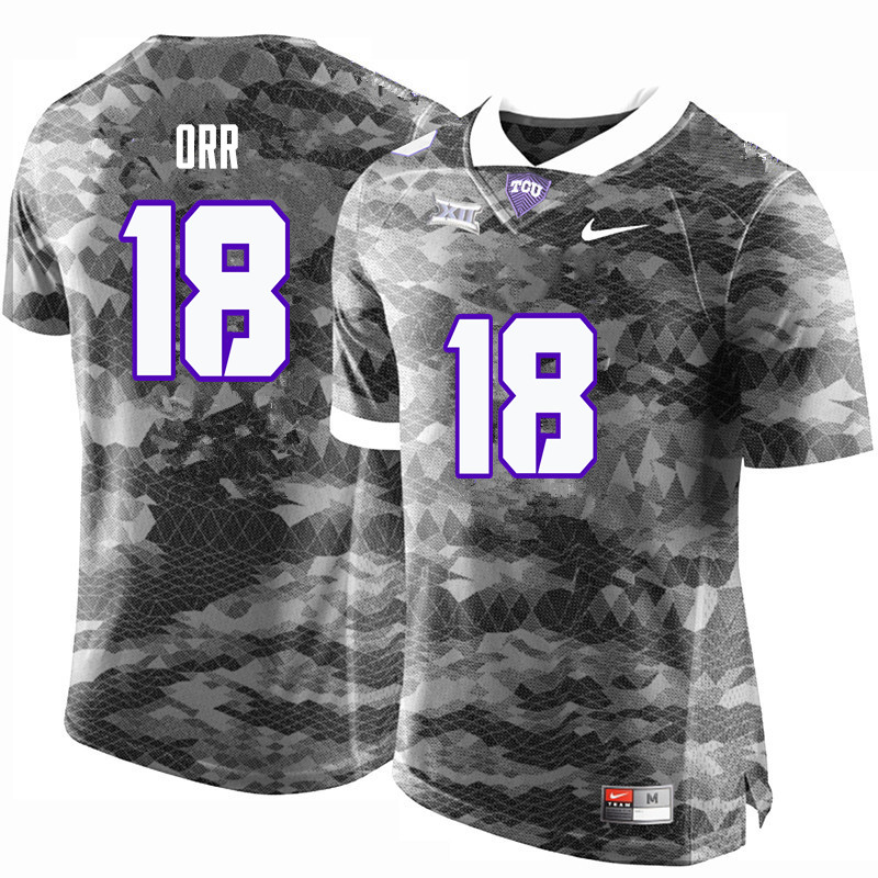 Men #18 Nick Orr TCU Horned Frogs College Football Jerseys-Gray