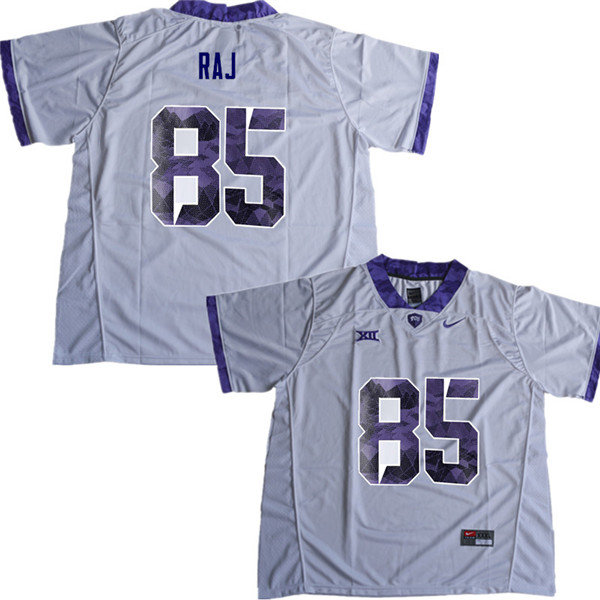 Men #85 Niven Raj TCU Horned Frogs College Football Jerseys Sale-White