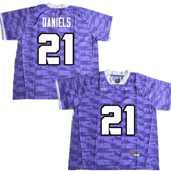 Men #21 Noah Daniels TCU Horned Frogs College Football Jerseys Sale-Purple
