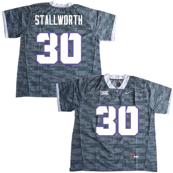 Men #30 Omega Stallworth TCU Horned Frogs College Football Jerseys Sale-Gray