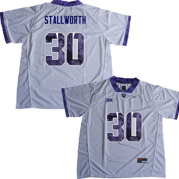 Men #30 Omega Stallworth TCU Horned Frogs College Football Jerseys Sale-White
