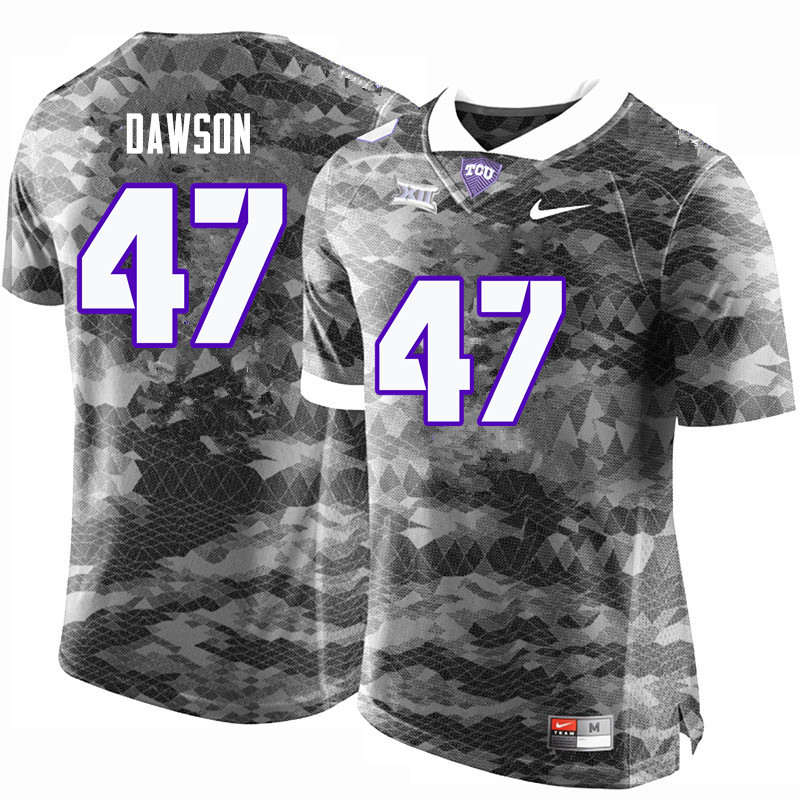 Men #47 P.J. Dawson TCU Horned Frogs College Football Jerseys-Gray