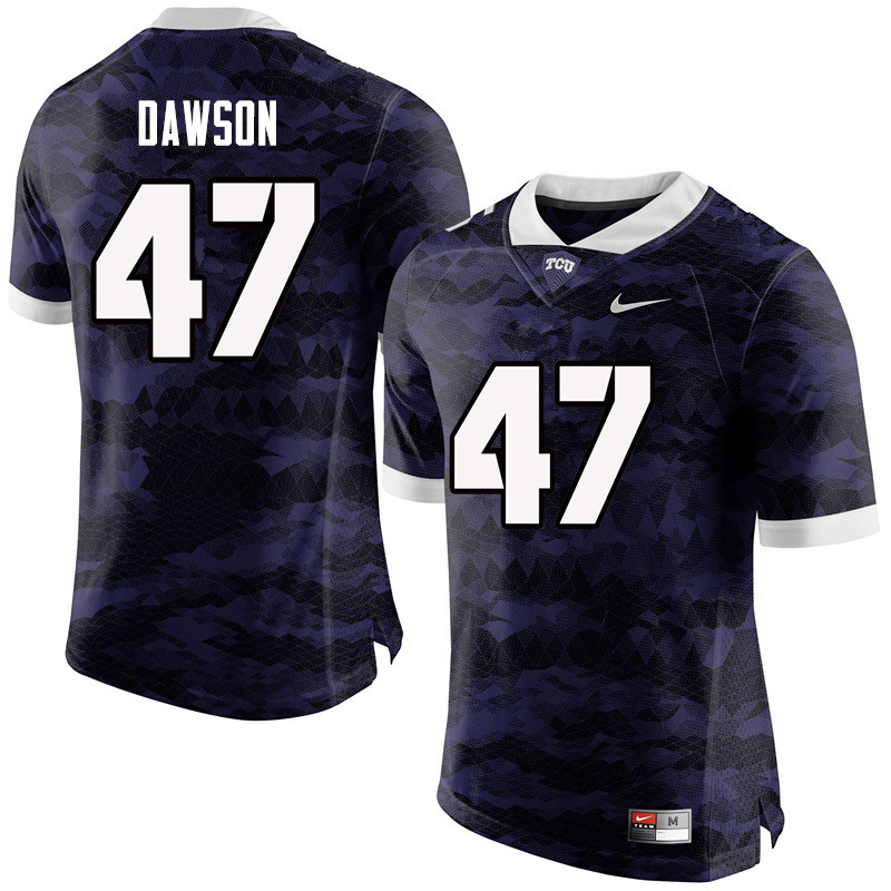 Men #47 P.J. Dawson TCU Horned Frogs College Football Jerseys-Purple