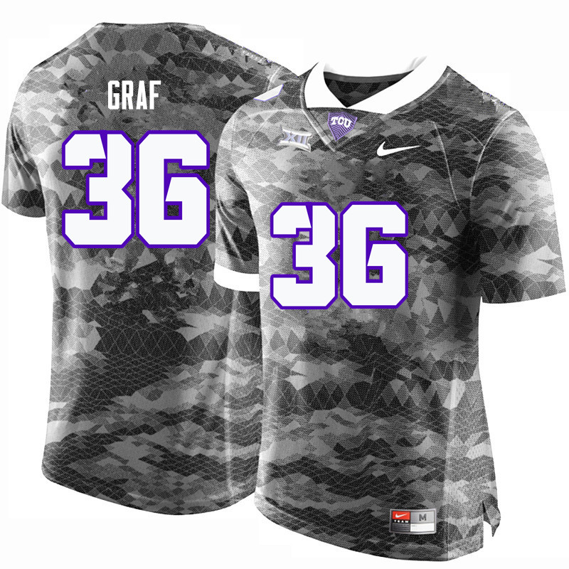Men #36 Ryan Graf TCU Horned Frogs College Football Jerseys-Gray
