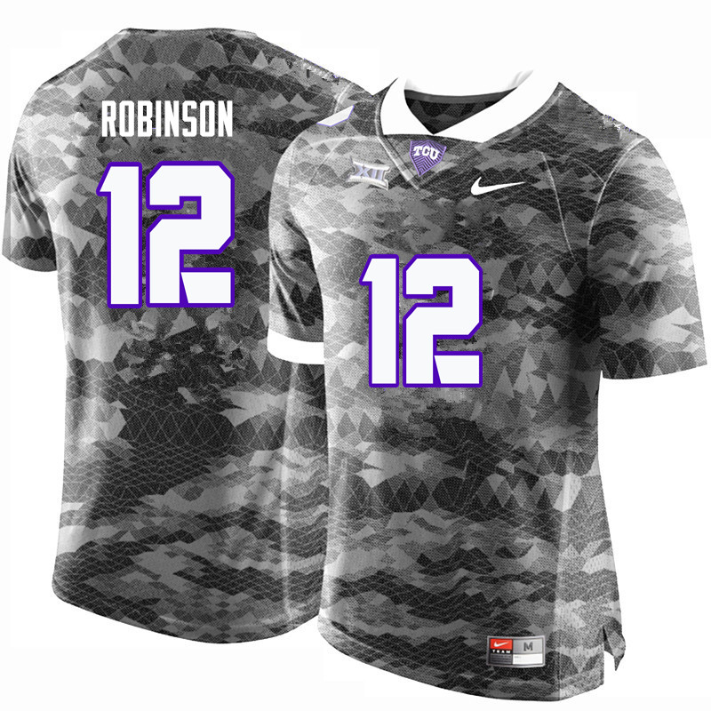 Men #12 Shawn Robinson TCU Horned Frogs College Football Jerseys-Gray