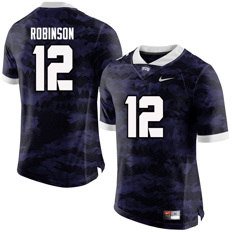 Men #12 Shawn Robinson TCU Horned Frogs College Football Jerseys-Purple