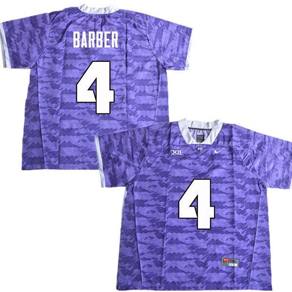 Men #4 Taye Barber TCU Horned Frogs College Football Jerseys Sale-Purple