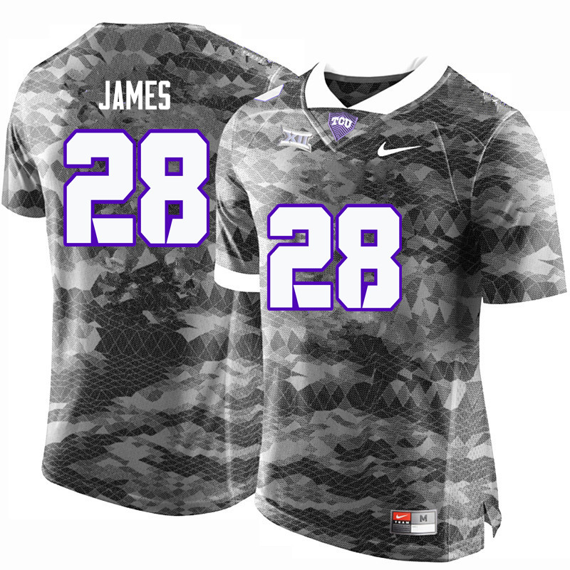 Men #28 Tony James TCU Horned Frogs College Football Jerseys-Gray
