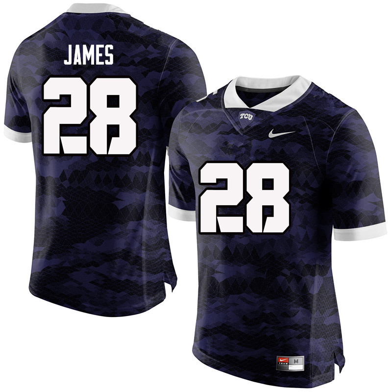 Men #28 Tony James TCU Horned Frogs College Football Jerseys-Purple