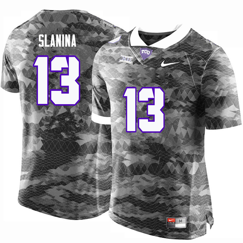 Men #13 Ty Slanina TCU Horned Frogs College Football Jerseys-Gray