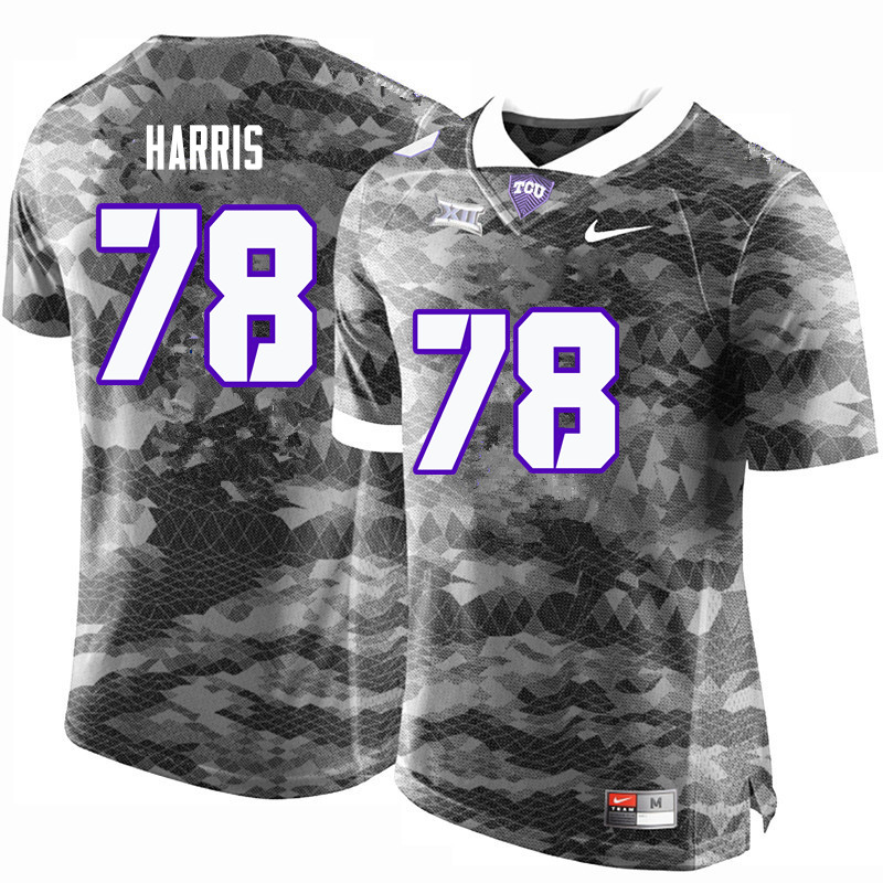 Men #78 Wes Harris TCU Horned Frogs College Football Jerseys-Gray