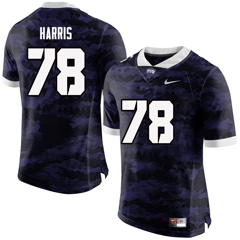 Men #78 Wes Harris TCU Horned Frogs College Football Jerseys-Purple