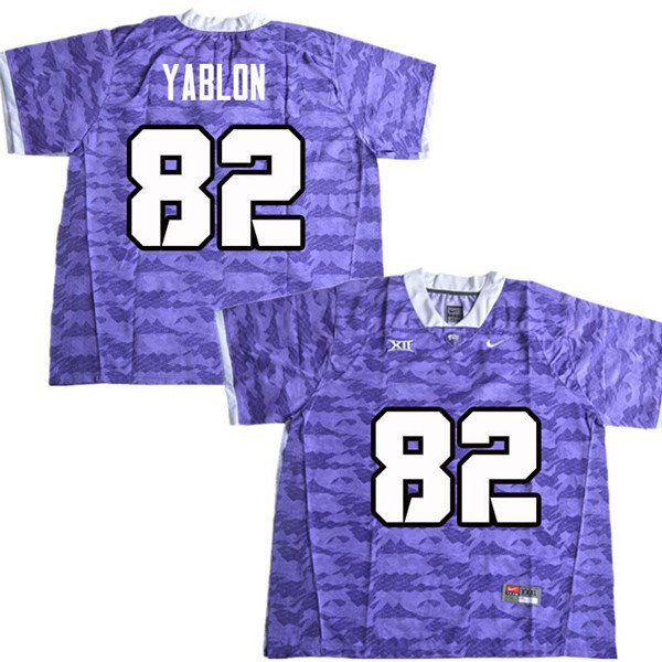 Men #82 Yishai Yablon TCU Horned Frogs College Football Jerseys Sale-Purple