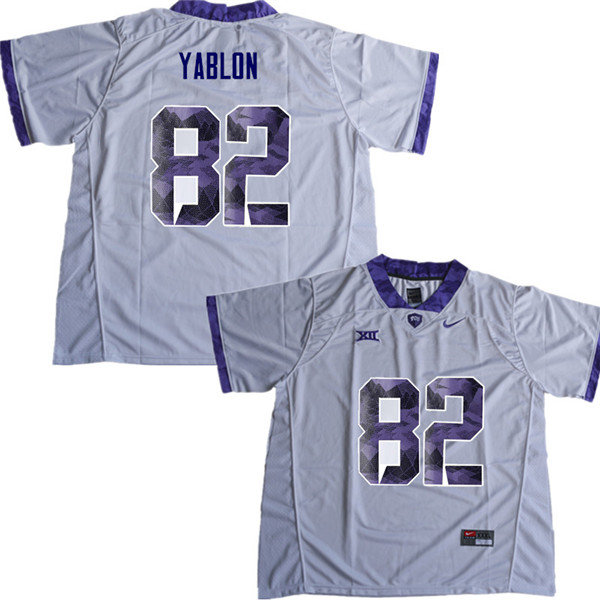 Men #82 Yishai Yablon TCU Horned Frogs College Football Jerseys Sale-White