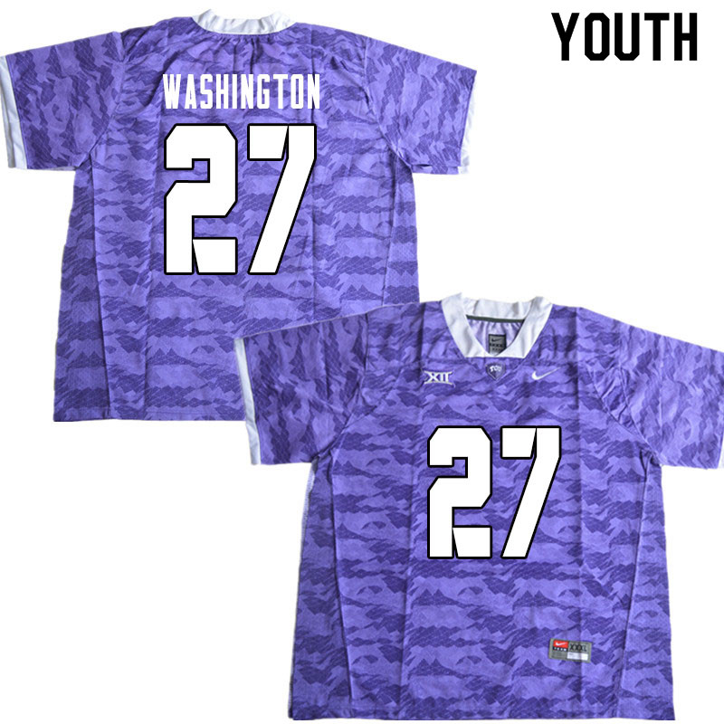 Youth #27 Ar'Darius Washington TCU Horned Frogs College Football Jerseys Sale-Limited Purple