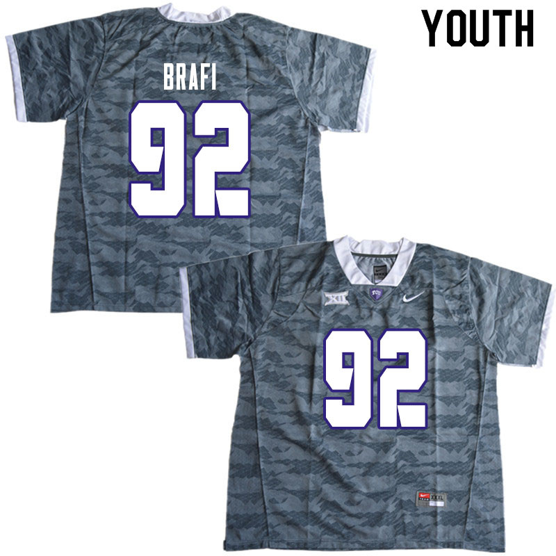 Youth #92 Benedict Brafi TCU Horned Frogs College Football Jerseys Sale-Gray