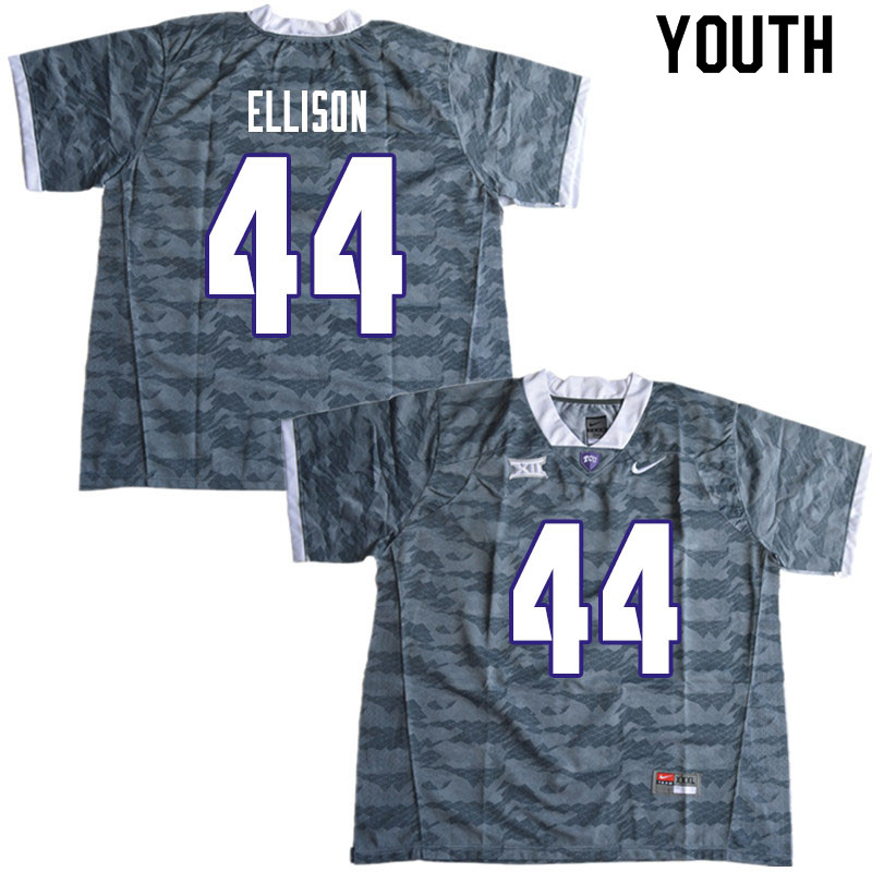 Youth #44 Colt Ellison TCU Horned Frogs College Football Jerseys Sale-Gray