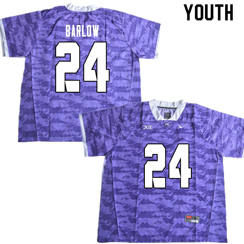Youth #24 Darwin Barlow TCU Horned Frogs College Football Jerseys Sale-Limited Purple
