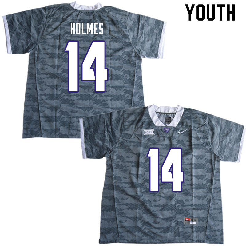 Youth #14 DeMauryon Holmes TCU Horned Frogs College Football Jerseys Sale-Gray