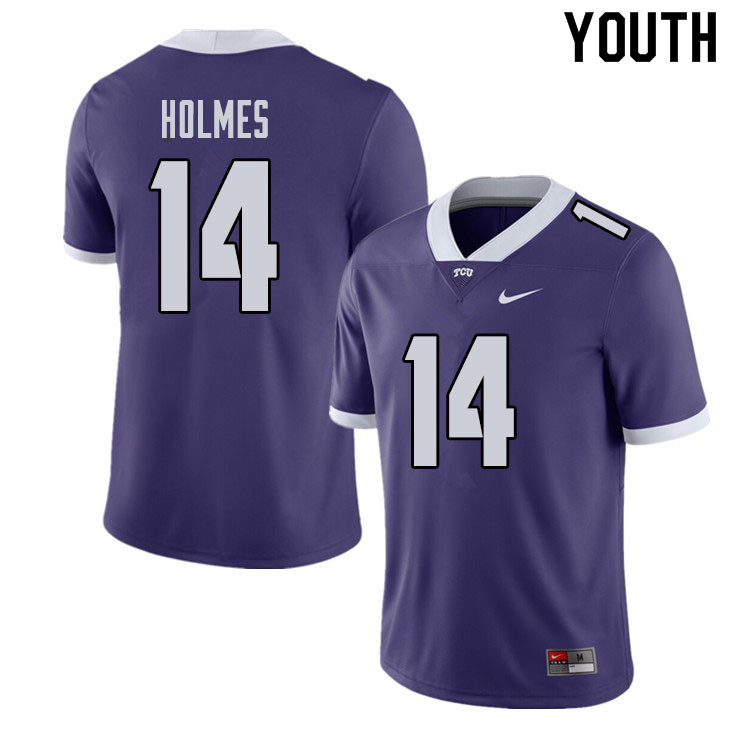 Youth #14 DeMauryon Holmes TCU Horned Frogs College Football Jerseys Sale-Purple