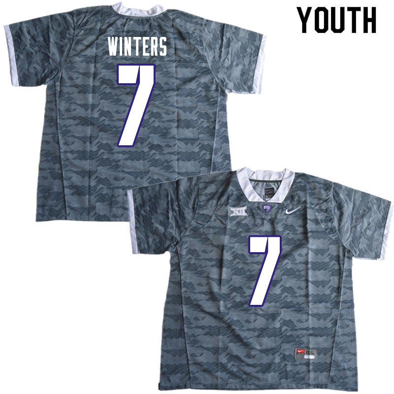 Youth #7 Dee Winters TCU Horned Frogs College Football Jerseys Sale-Gray