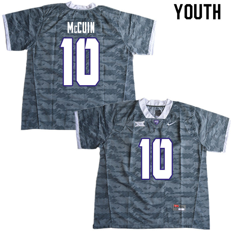 Youth #10 Deshawn McCuin TCU Horned Frogs College Football Jerseys Sale-Gray