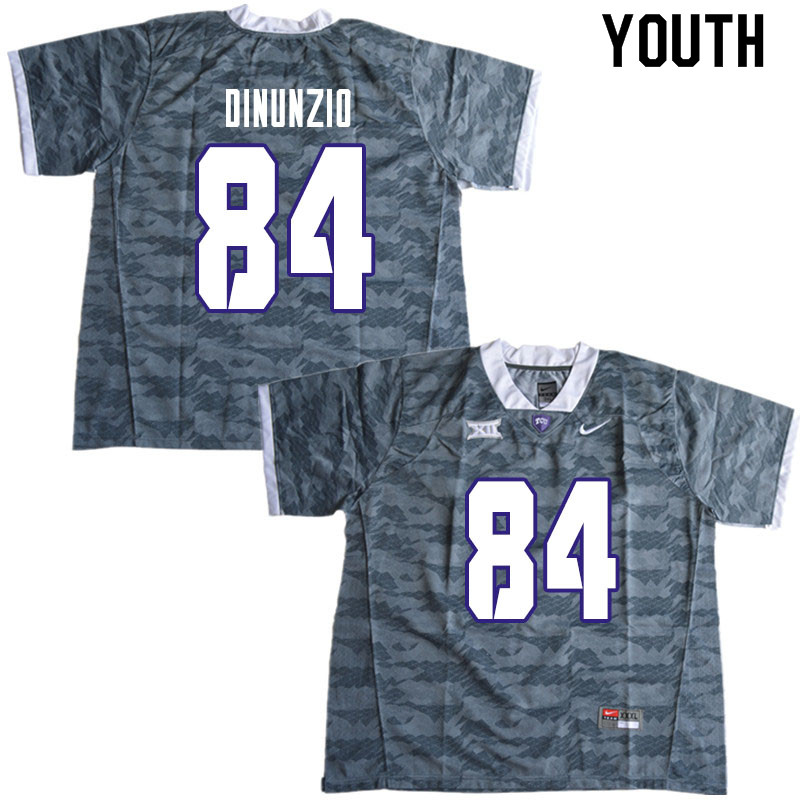 Youth #84 Dominic DiNunzio TCU Horned Frogs College Football Jerseys Sale-Gray