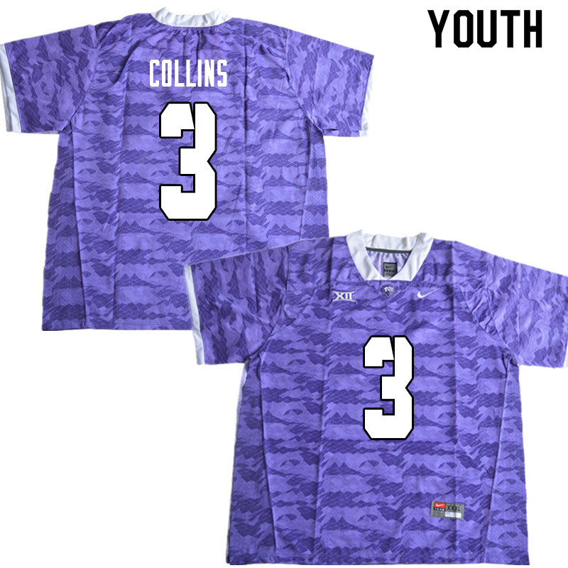 Youth #3 Donavann Collins TCU Horned Frogs College Football Jerseys Sale-Limited Purple