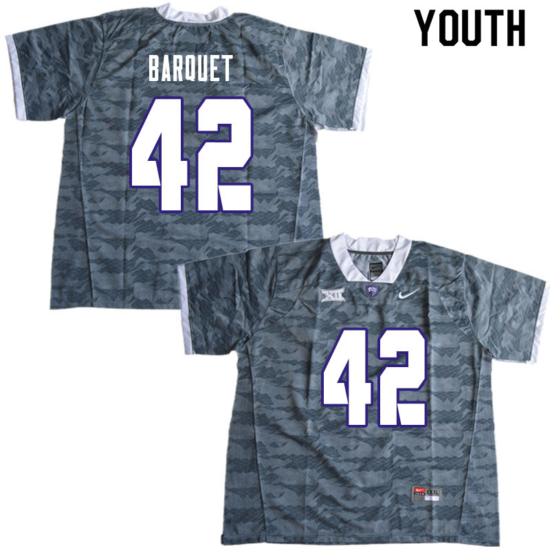 Youth #42 Earl Barquet TCU Horned Frogs College Football Jerseys Sale-Gray