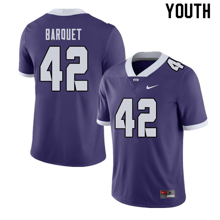 Youth #42 Earl Barquet TCU Horned Frogs College Football Jerseys Sale-Purple