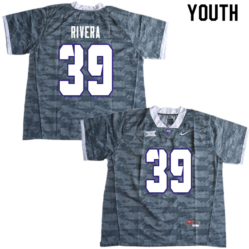 Youth #39 Eric Rivera TCU Horned Frogs College Football Jerseys Sale-Gray