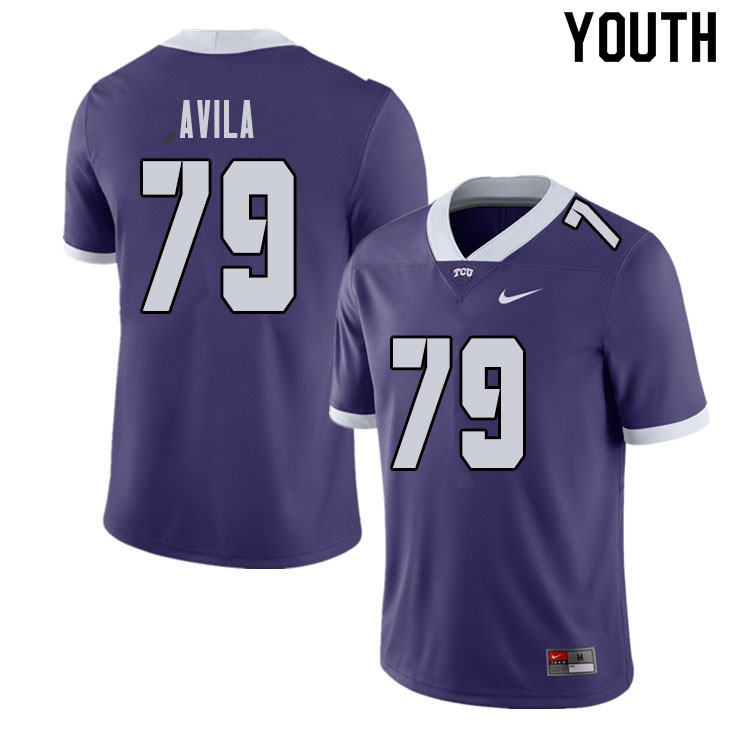 Youth #79 Esteban Avila TCU Horned Frogs College Football Jerseys Sale-Purple