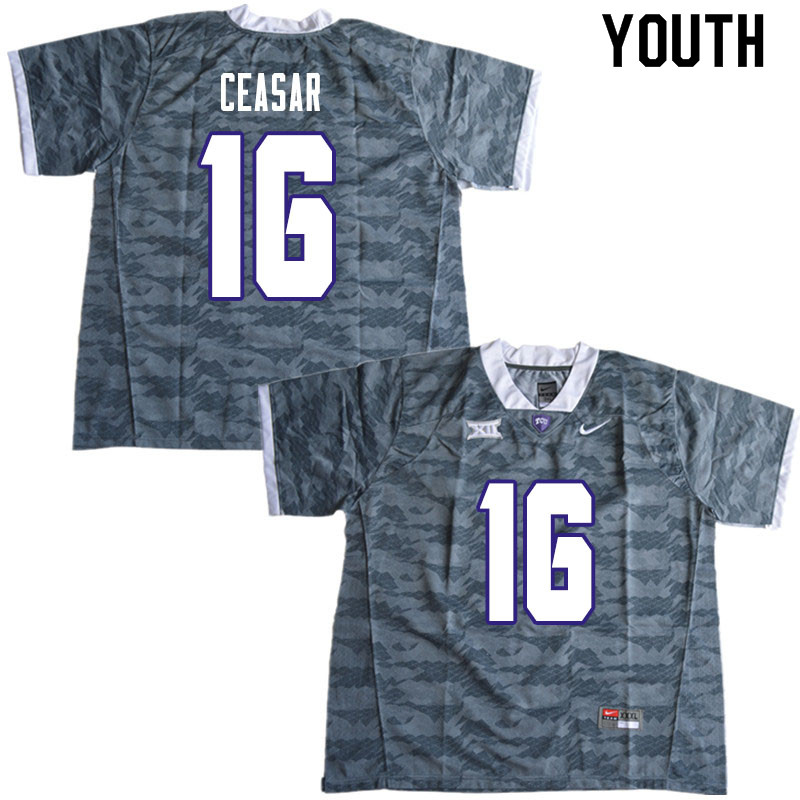 Youth #16 Hidari Ceasar TCU Horned Frogs College Football Jerseys Sale-Gray