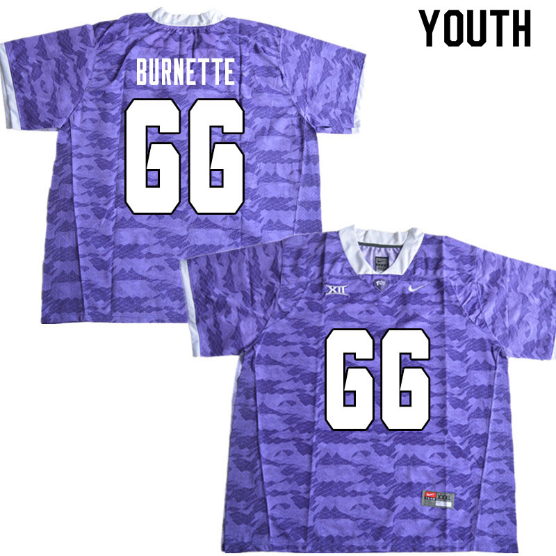 Youth #66 Ian Burnette TCU Horned Frogs College Football Jerseys Sale-Limited Purple