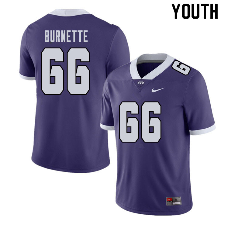 Youth #66 Ian Burnette TCU Horned Frogs College Football Jerseys Sale-Purple