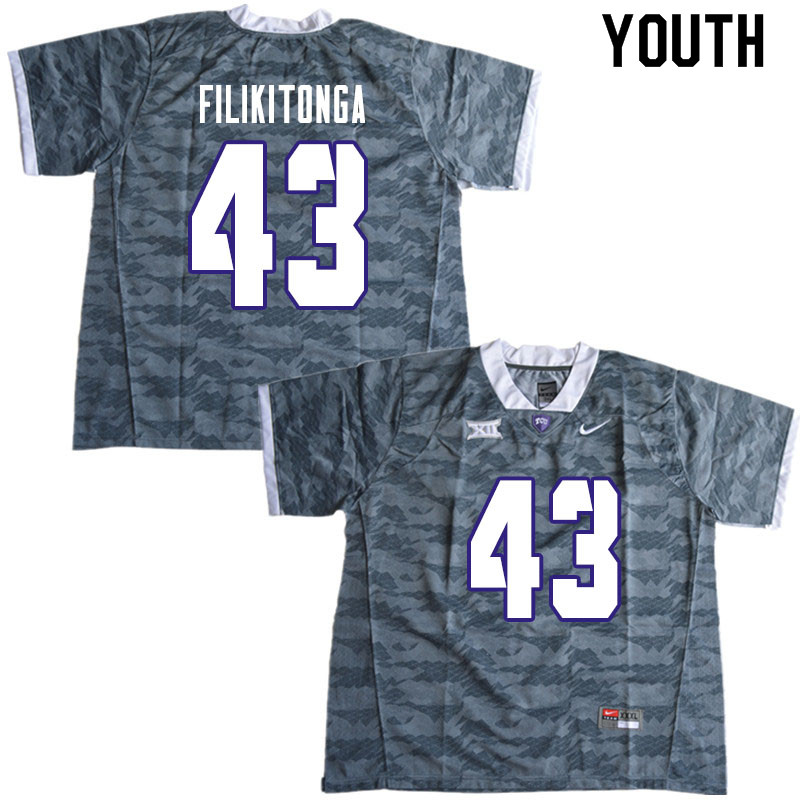Youth #43 Izaih Filikitonga TCU Horned Frogs College Football Jerseys Sale-Gray