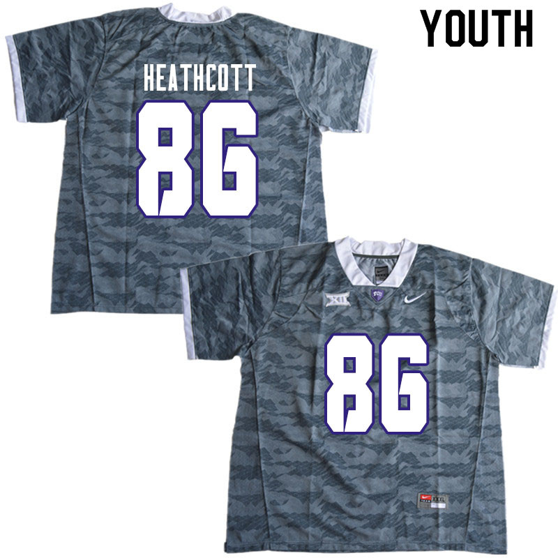 Youth #86 Jack Heathcott TCU Horned Frogs College Football Jerseys Sale-Gray