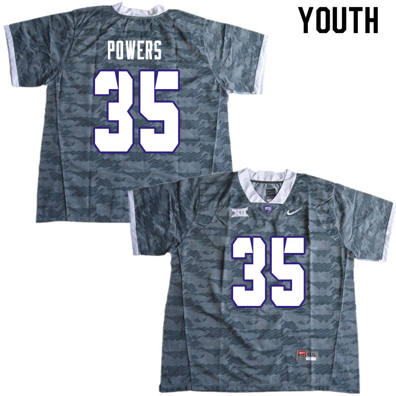 Youth #35 Jack Powers TCU Horned Frogs College Football Jerseys Sale-Gray