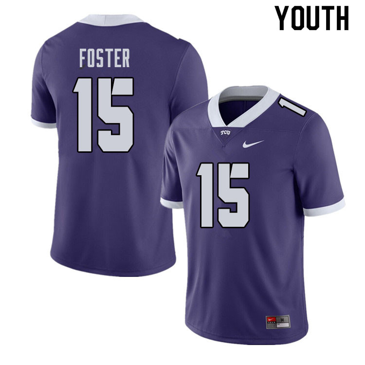 Youth #15 Josh Foster TCU Horned Frogs College Football Jerseys Sale-Purple