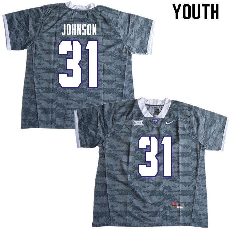 Youth #31 Karter Johnson TCU Horned Frogs College Football Jerseys Sale-Gray