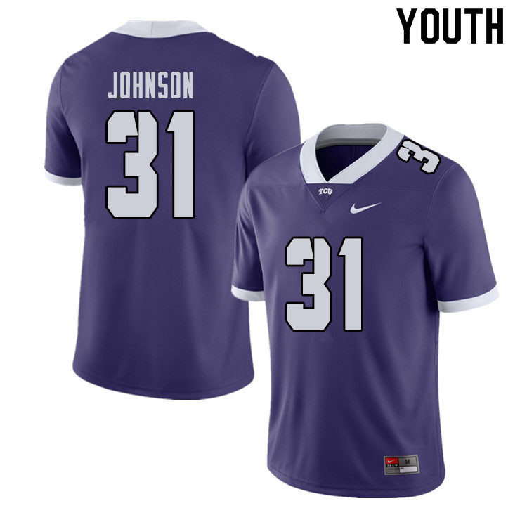 Youth #31 Karter Johnson TCU Horned Frogs College Football Jerseys Sale-Purple