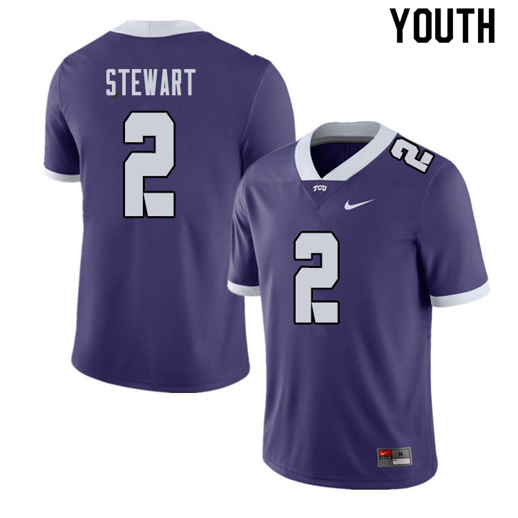 Youth #2 Kee'yon Stewart TCU Horned Frogs College Football Jerseys Sale-Purple